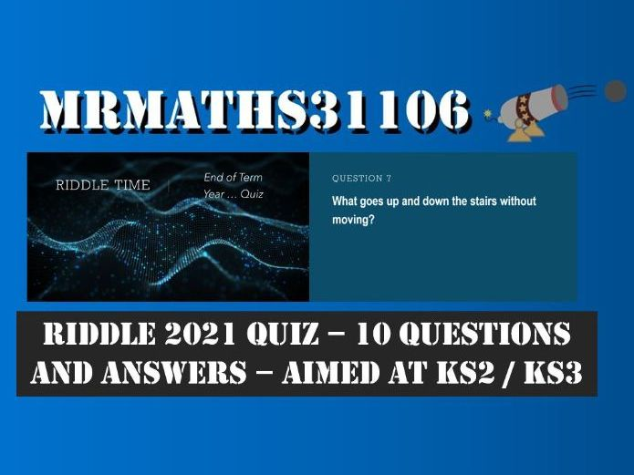 2021 - Remote Riddle Quiz - Microsoft Teams - Great for Remote Learning and Tutor Time