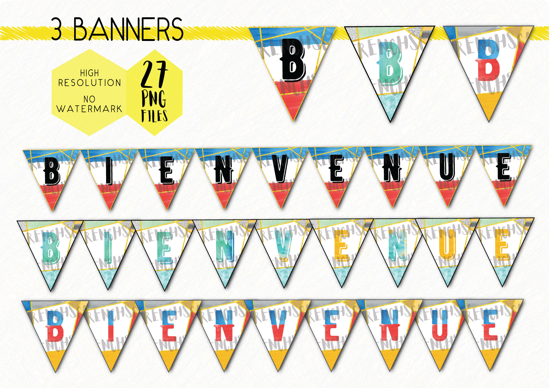French Bienvenue Classroom Decor Set 3 Posters 3 Banners Printable Display Teaching Resources