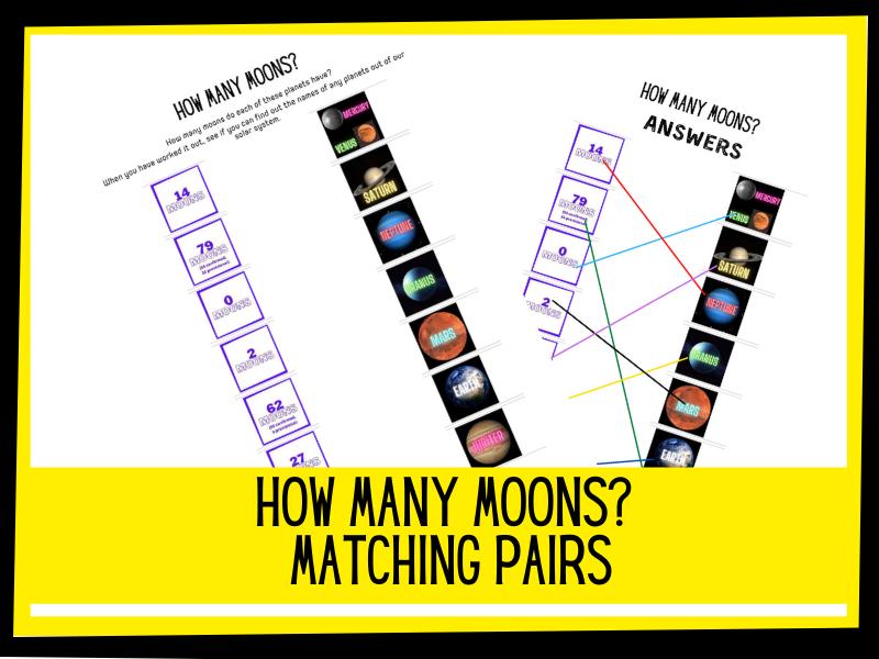 How many moons? Matching pairs activity | KS1 KS2 Primary Science