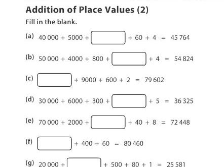 Addition of Place Values (2)