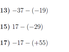 6 Worksheets on Subtracting integers (with solutions)