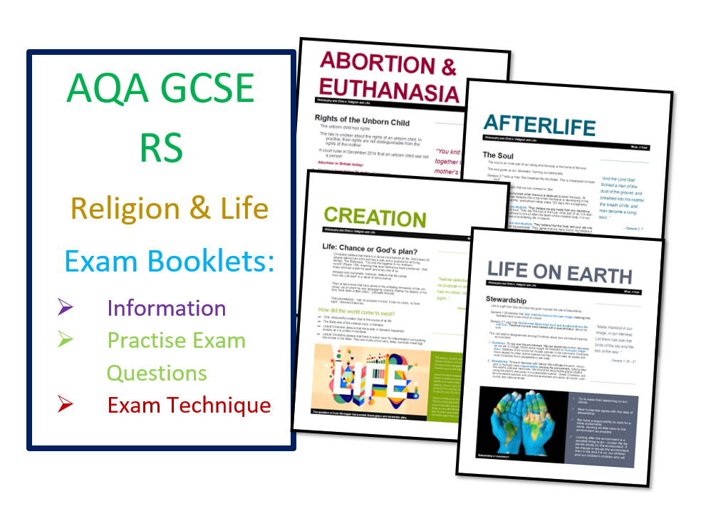 AQA RS GCSE Religion and Life Exam Booklet Bundle