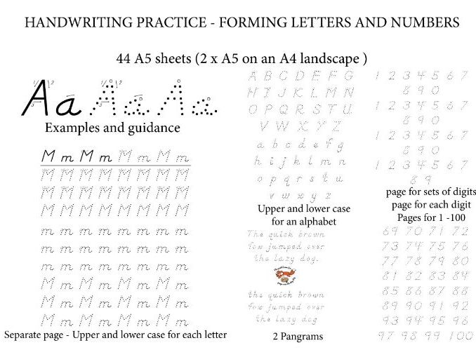 Practice HANDWRITING and forming LETTERS & NUMBERS    44 Worksheets