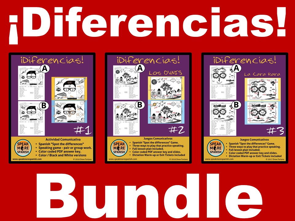 Spanish Spot the Differences BUNDLE. Games for oral proficiency.