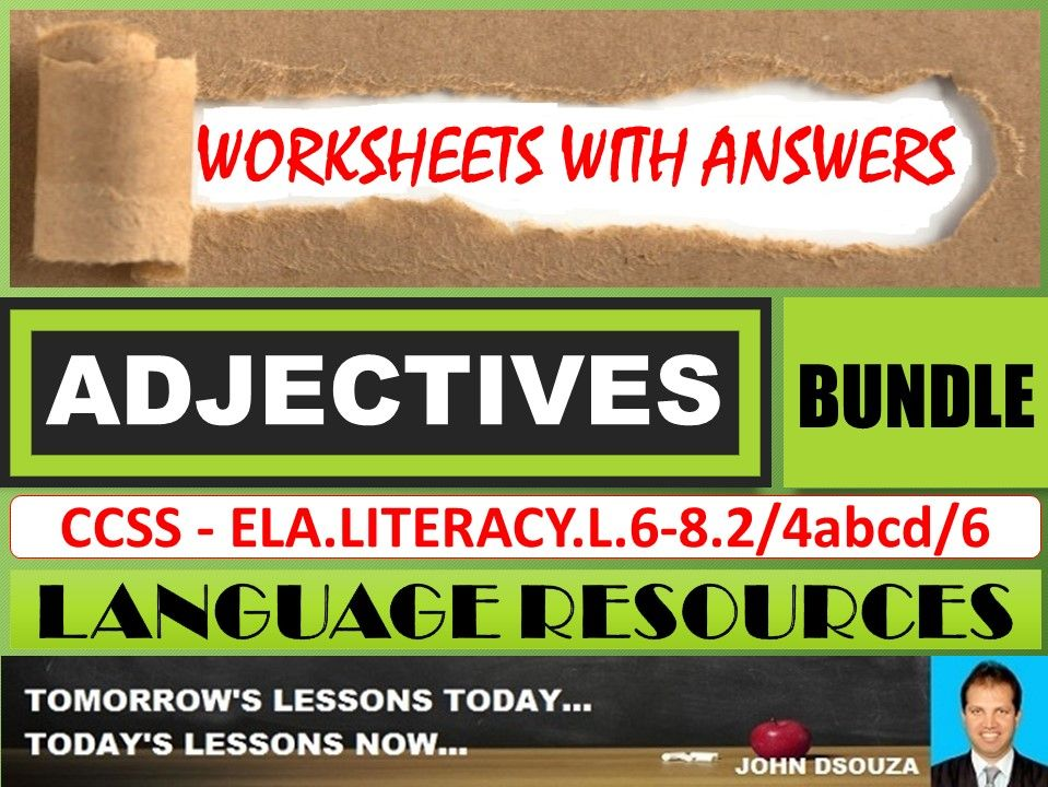 ADJECTIVES: WORKSHEETS WITH ANSWERS - BUNDLE