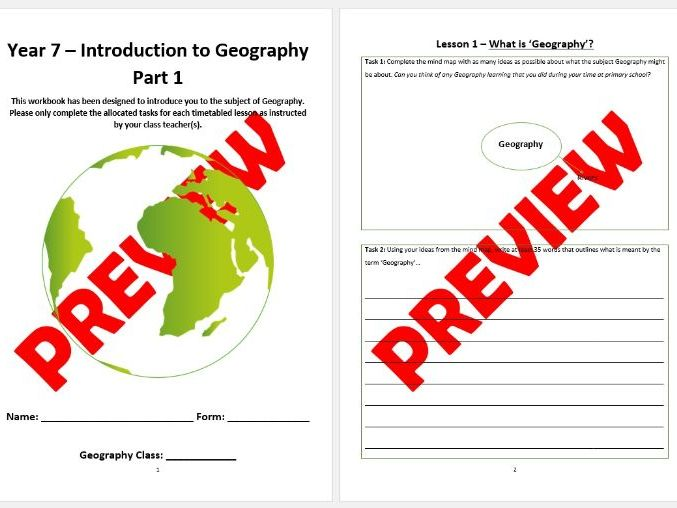 Year 7 Workbook (Part 1) - Introducing secondary school Geography / KS2 to KS3 Transition Booklet