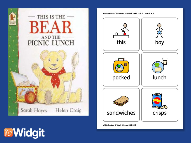 This Is The Bear And The Picnic Lunch - Big Book Flashcards with Widgit Symbols