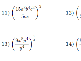 Powers of quotients worksheets (with solutions)