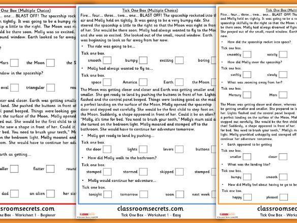 KS1 SATs Reading Practice Tick One Box Multiple Choice