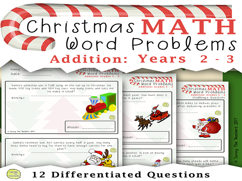 Christmas Math Addition Word Problems: Years 2 - 3