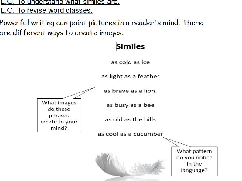 Year 4 Poetry - Similes/Metaphors/Word classes