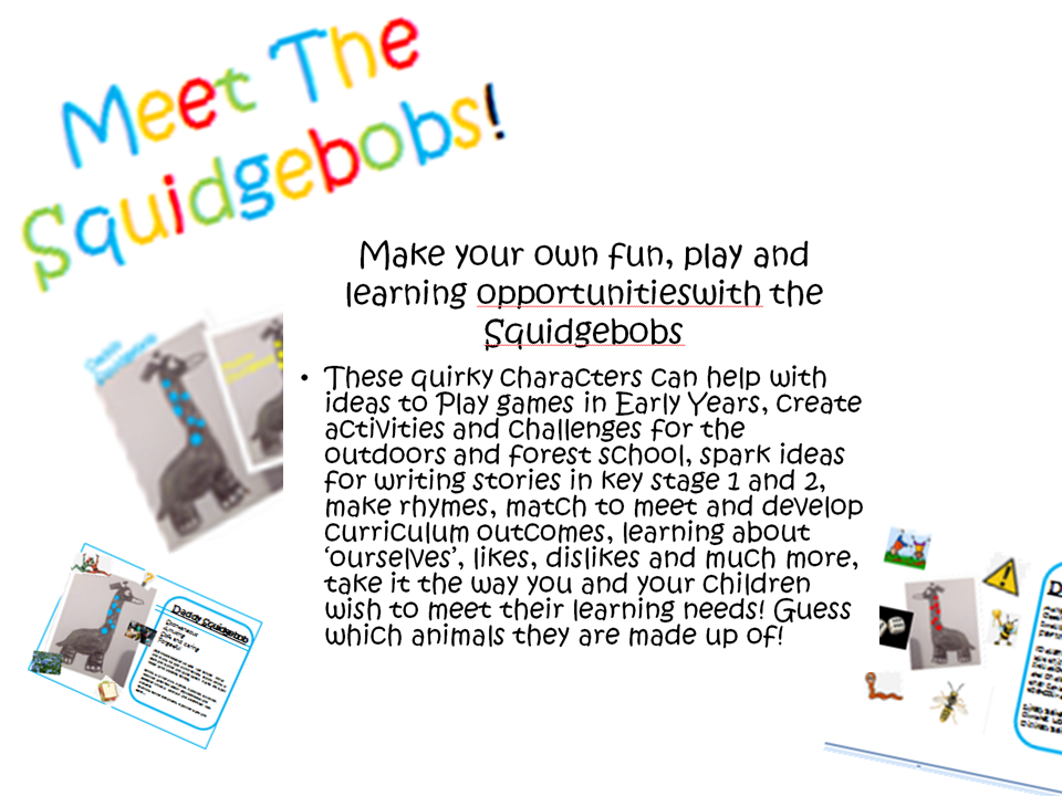 Squidgebob character pack to promote reading, writing in key stage 1, 2, EYFS/ EYFP/ wall dispalys