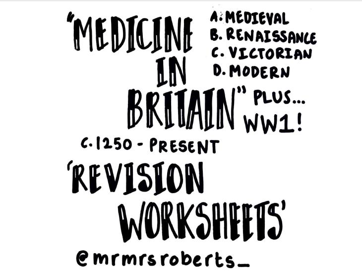Edexcel GCSE History - Medicine in Britain - 16 Revision worksheets