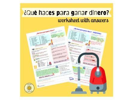 ¡A currar! ¿Qué haces para ganar dinero? Tareas domésticas. Spanish GCSE House chores With answers