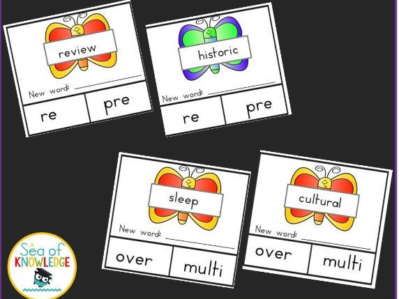 Prefix Puzzles Spring Themed Write & Wipe Cards