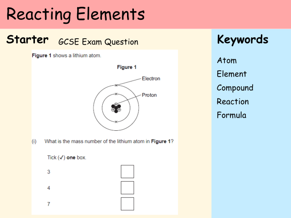 KS3 Atoms - Lesson 4 - Reacting Elements