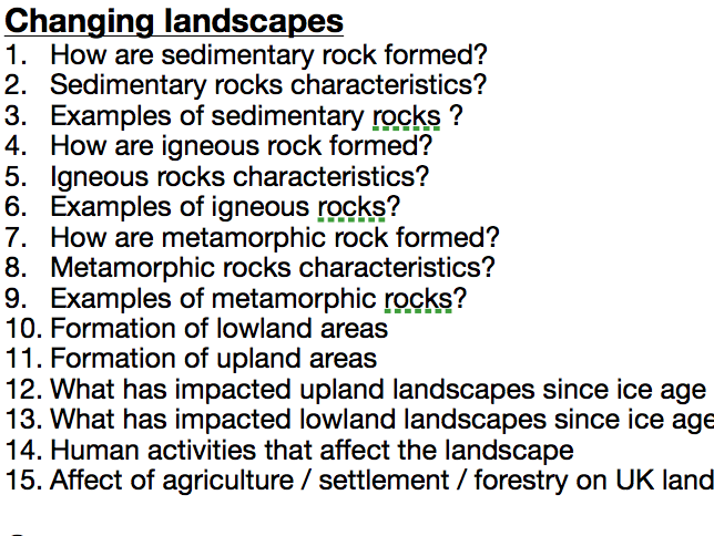 Geography Edexcel A Paper 1 Knowledge Test Questions