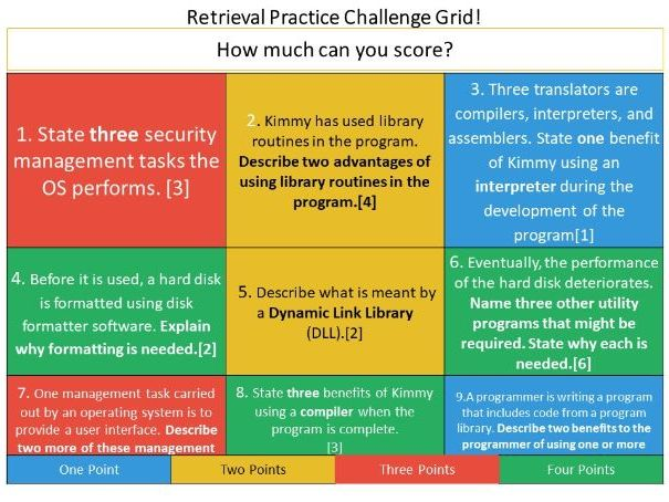 Starter -  Operating Systems and Utilities- Retrieval Practice Challenge Grid