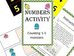 Adapted special needs Maths workstation monster counting numbers 1-5 sampler pack - Inclusivity