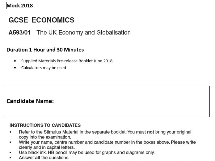 OCR GCSE Economics 593 Mock 2018