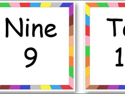Rainbow Border Number Cards 1 to 10