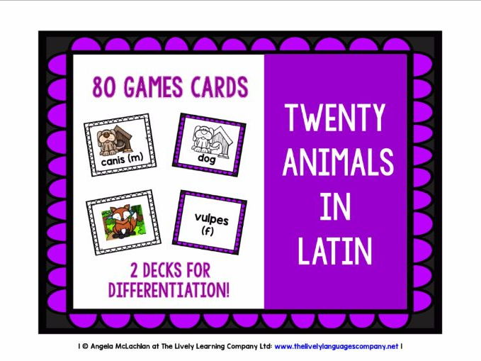 PRIMARY LATIN - 80 ANIMALS GAMES CARDS & REFERENCE SHEET