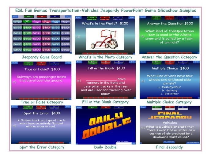 Transportation-Vehicles Jeopardy Powerpoint Game Slideshow By