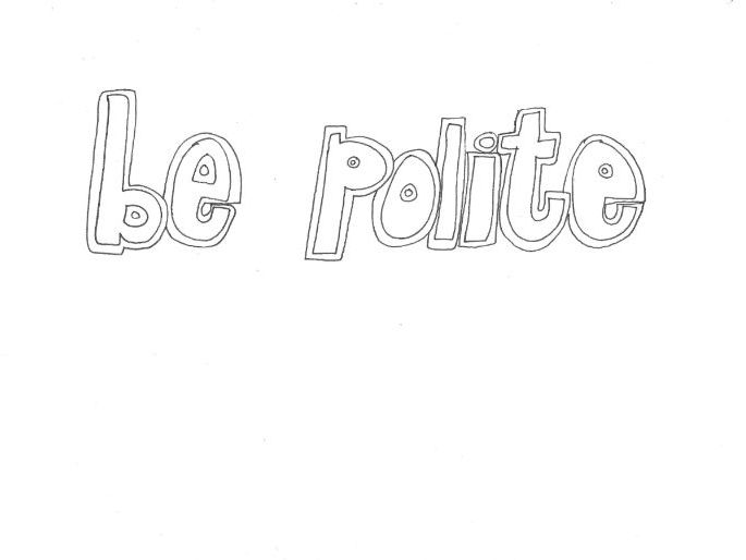 Be Polite (Classroom Rules): Colouring Page