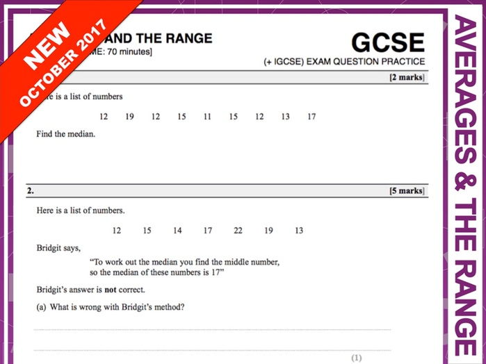 GCSE 9-1 Exam Question Practice (Averages and The Range)