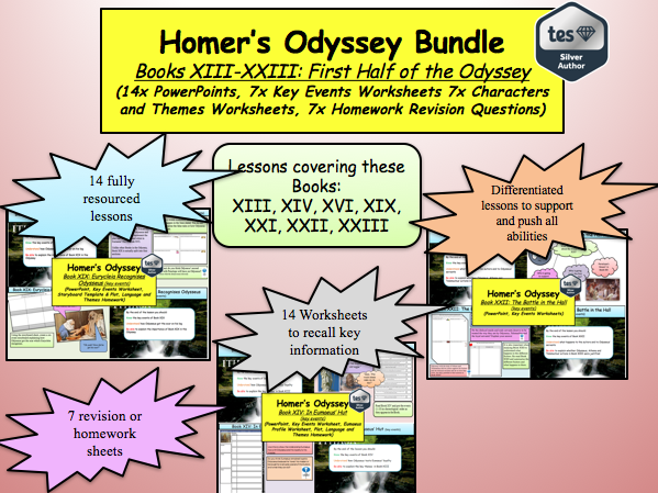 Homer's Odyssey – Books XIII – XIV, XVI, XIX, XXI-XIII Bundle  (14x lesson and more)