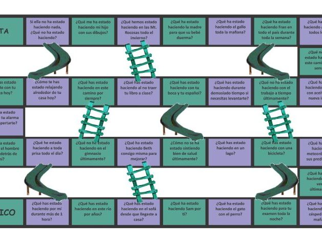 Present Perfect Continuous Tense Spanish Chutes and Ladders Board Game