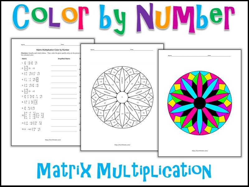 Matrix Multiplication Color by Number