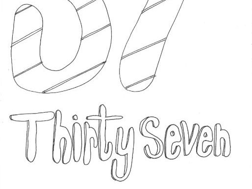 Thirty Seven:  Numbers (with word): Colouring Page