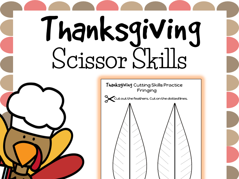 Cutting Practice Scissor Skill Worksheets {Thanksgiving}