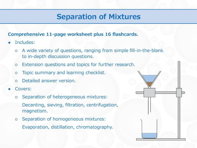 Separation Of Mixtures Worksheet And Flashcards By