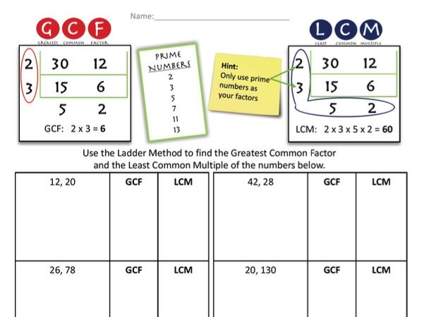 Greatest Common Factor AND Least Common Multiple:  The Ladder Method