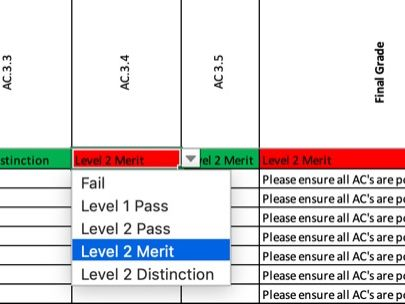 Teacher Controlled Assessment Tracker - Level 1/2 Hospitality and Catering