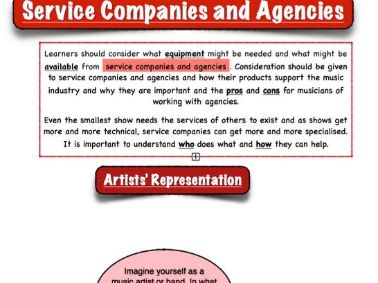 "BTEC Music Unit 1 - 'The Music Industry': ""Artist Representation"""