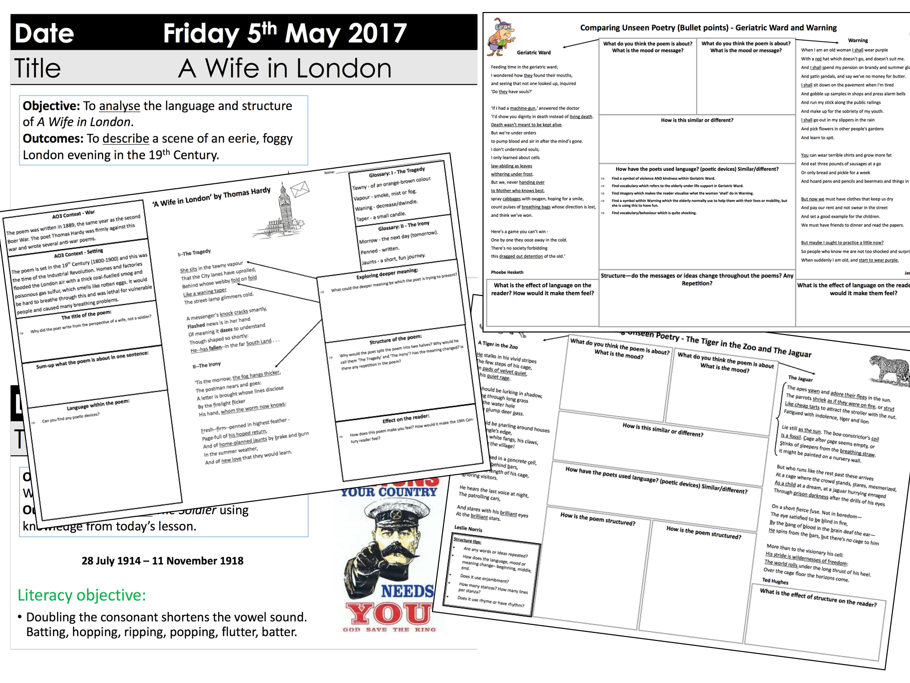 WJEC Eduqas poetry unseen and anthology with A3 sheets