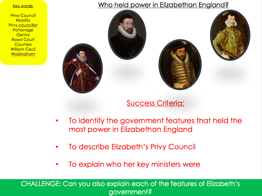 Who held power in Elizabethan England?