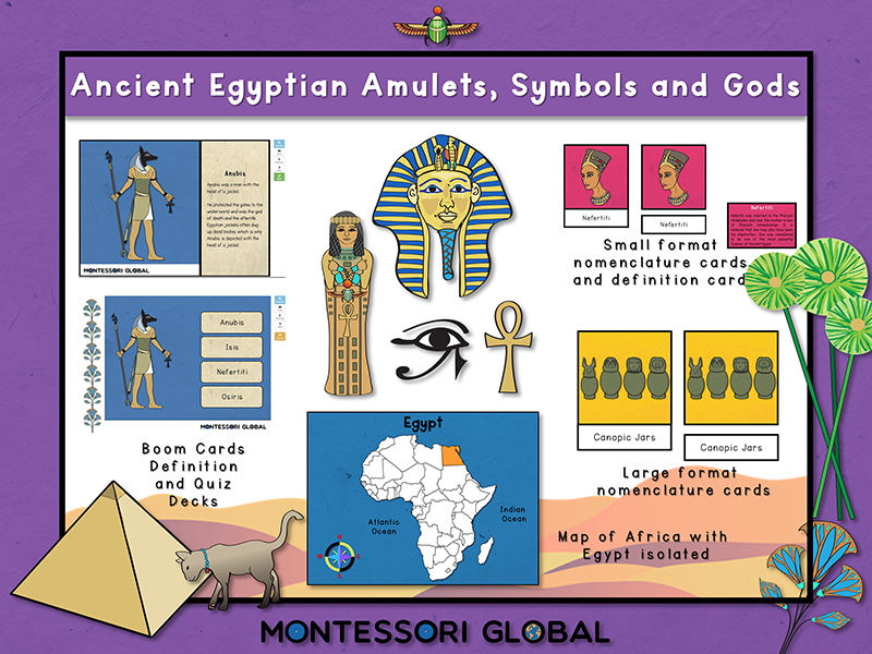 Ancient Egyptian Amulets Symbols and Gods | 3 Part Cards | Boom Cards | PowerPoint