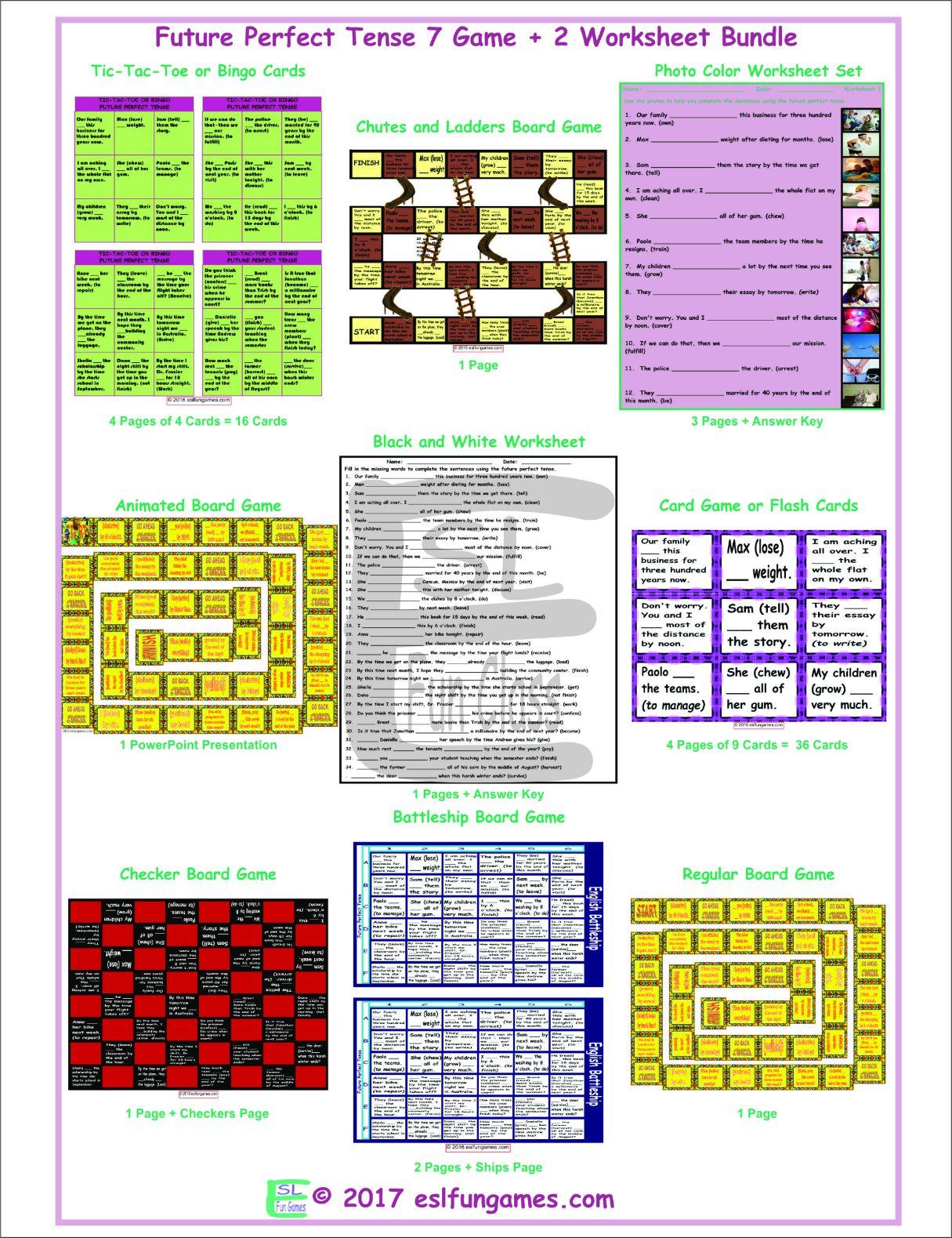 Future Perfect Tense 7 Game Plus 2 Worksheet Bundle