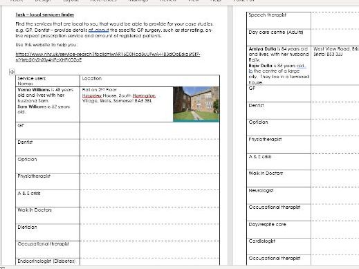 Health and Social Care work booklet 3 Component 2 part A health and social care services and values