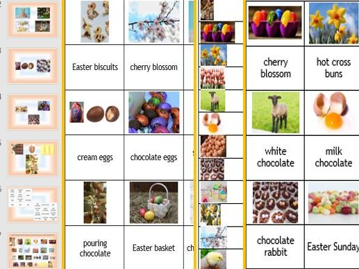 ESL EAL EFL English Easter Activities: presentation, cue cards, matching up cards, sequencing cards