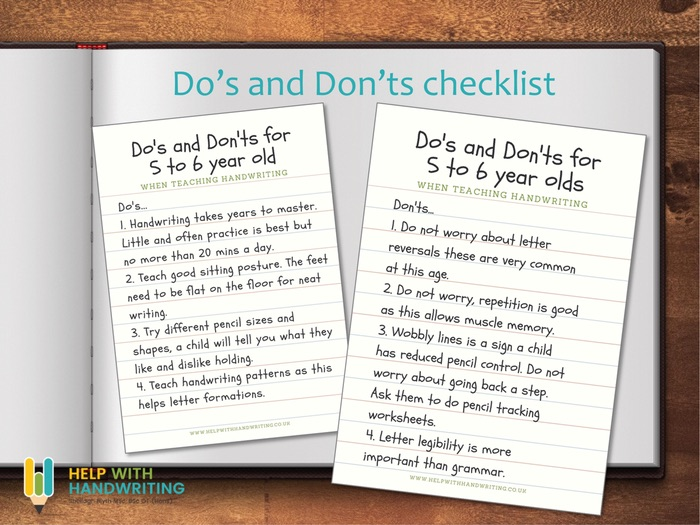 Do's & Don'ts 5-6 year handwriting guide