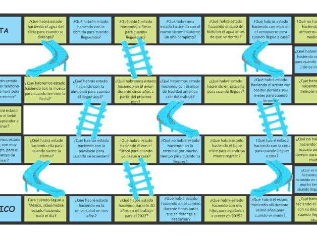 Future Perfect Continuous Tense Spanish Chutes and Ladders Board Game
