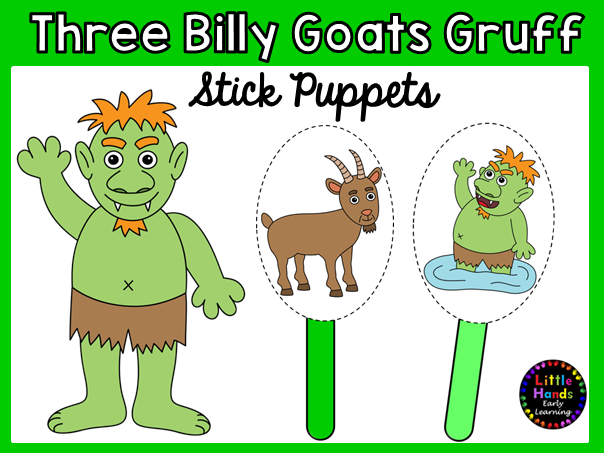 Three Billy Goats Gruff Stick Puppets