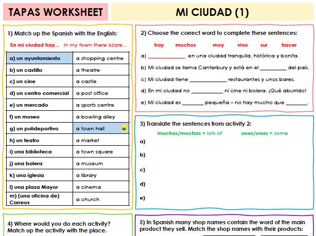 SPANISH TAPAS WORKSHEET WITH ANSWERS - Mi ciudad [1]