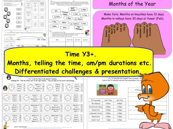Time Y3 Small Steps Telling The Time, Months  Durations etc Challenges, Reasoning  & Presentation