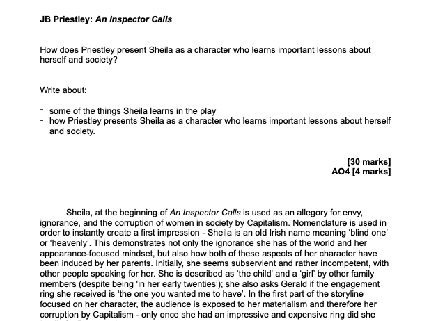 AN INSPECTOR CALLS GRADE 9 ESSAY SHEILA